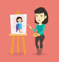 creative female artist painting portrait vector image vector image