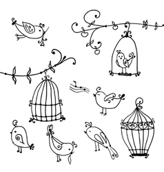 Cute birds and branches of trees with birds cages vector