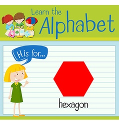 Flashcard letter H is for hexagon vector image vector image