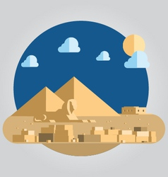Flat design pyramid and sphinx in egypt vector