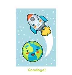 Goodbye kawaii space funny card doodles with vector