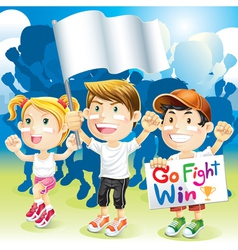 Group Kids Cheering with flag vector image
