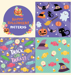 Halloween pattern swatches set vector