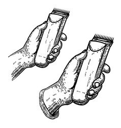 Hand with clipperdesign element for barber shop vector