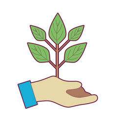 Hand with plant with ground to planet conservation vector