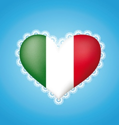 Heart shape flag of Italy vector image vector image