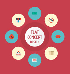 icons flat style badge sale box and other vector image vector image