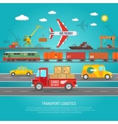 Logistics transportation details flat poster print vector