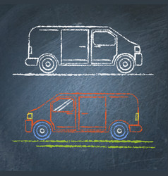 minivan car sketch on chalkboard vector image