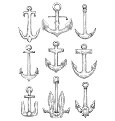Nautical anchors for naval ships and boats design vector image