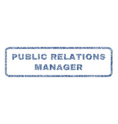 Public relations manager textile stamp vector