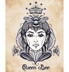 Queen bee portriat as a woman art vector