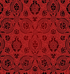 Red and black seamless abstract floral pattern vector