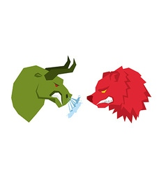 Red bear and green bull traders on stock exchange vector