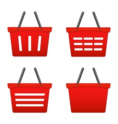 Red Shopping Basket Icons vector image vector image