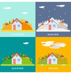 Seasons change autumn winter summer spring village vector