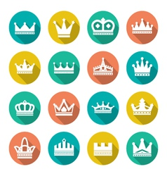 Set flat icons of crown vector