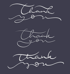 set of thank you text on dark background vector image vector image