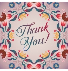 Thank you card in bright colors stylish floral vector