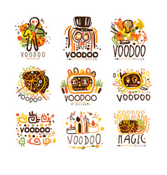 Voodoo and magic set for label design spiritual vector