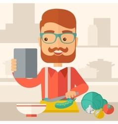 Worker cook with menu vector