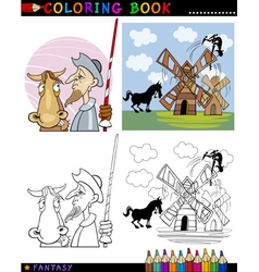 Don Quixote for coloring vector image