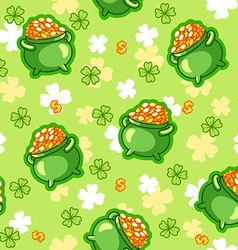 Seamless pattern with a pot of gold four-leaf vector