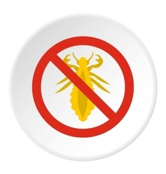 Prohibition sign insects icon flat style vector