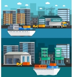Sea port orthogonal banners vector