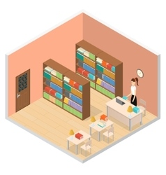 Interior public library isometric view vector