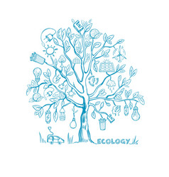 Ecology tree infographic concept vector
