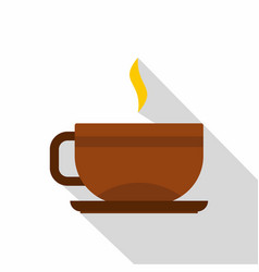 Brown tea cup and saucer icon flat style vector