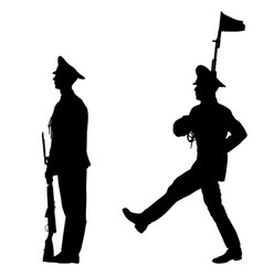 Black set silhouette soldier is marching with arms vector