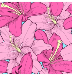 Seamless background with pink lilies hand-drawing vector