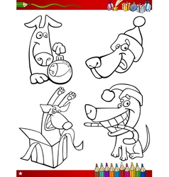 Cartoon christmas themes coloring page vector