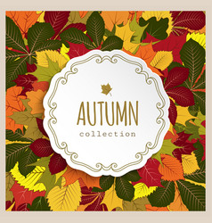 Autumn label with yellow leaves vector
