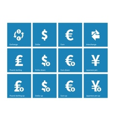Exchange rate icons on blue background vector