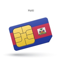 Haiti mobile phone sim card with flag vector