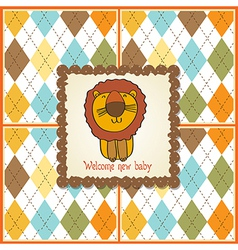Childish baby shower card with cartoon lion vector
