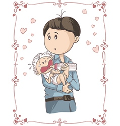 Father feeding crying baby cartoon vector