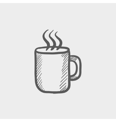 Mug of hot choco sketch icon vector