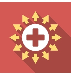 Pharmacy distribution flat square icon with long vector