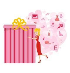 Big present for woman pink vector