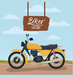 biker culture poster with classic motorbike in vector image