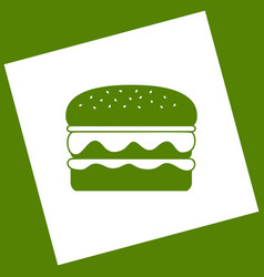 Burger simple sign white icon obtained as vector