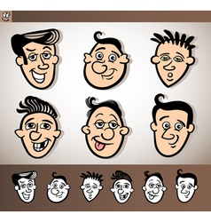 cartoon men heads set vector image vector image