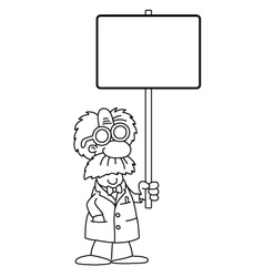 Cartoon Scientist with sign vector image vector image