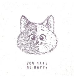 Cat cute doodle vector