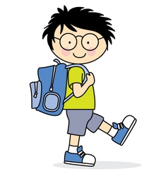 Child who goes to school with a backpack vector image vector image