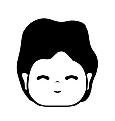Contour man head with expression and hairstyle vector